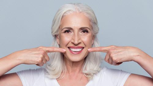 Lady After Dental Implant